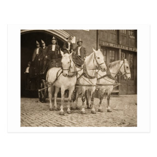 Horse Drawn Hook und Ladder Fire Company - Vintag Postkarte