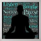 , Hört Atem, Pause, ist Meditations-Plakat Poster