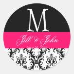 Hot Pink Wedding Monogram Date Damask Seal Sticker