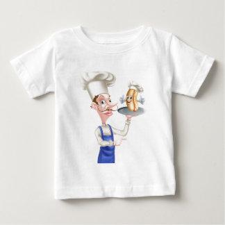 Hotdog-Cartoon-Kochs-Zeigen Baby T-shirt