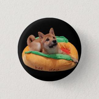 Hotdog Shiba Abzeichen-Schwarzes Runder Button 3,2 Cm