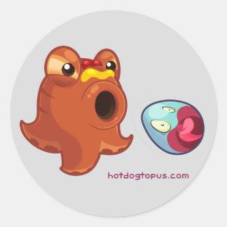 Hotdogtopus Würstchen-Krake mit Ketschup u. Senf Runder Aufkleber