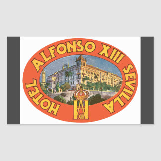Hotel Alfonso Xiii Sevilla, Vintag Rechteckiger Aufkleber