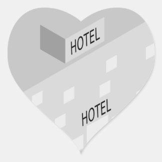 Hotel-Gebäude Herz-Aufkleber