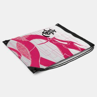 Hotpink Drache-japanischer Drache-Weiß-Hintergrund Turnbeutel