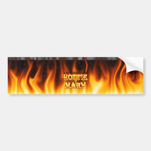 Hottie Mary Feuer und Flammenrotmarmor Autosticker