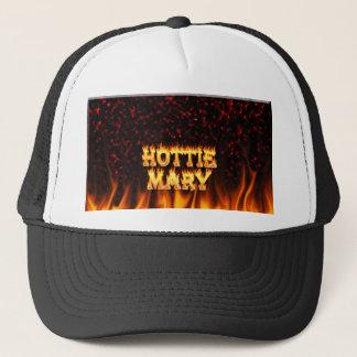 Hottie Mary Feuer und Flammenrotmarmor Truckerkappe