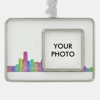 Houston-Stadt-Skyline Rahmen-Ornament Silber
