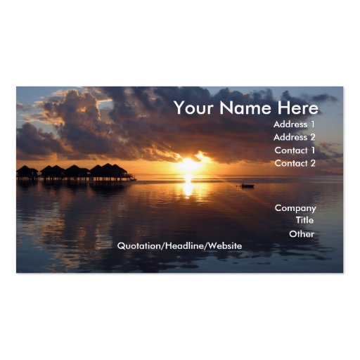 Huahine Sonnenuntergang-Visitenkarte