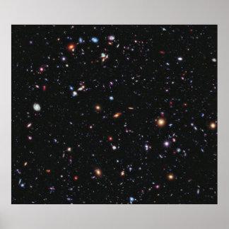 Hubble extremes tiefes Feld Plakatdruck