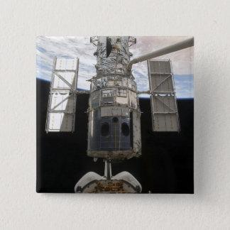 Hubble Weltraumteleskop in Atlantis-Laderaum Quadratischer Button 5,1 Cm