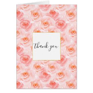 Hübsch erröten rosa Watercolor-Rosen danken Ihnen Karte