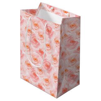 Hübsch erröten rosa Watercolor-Rosen Mittlere Geschenktüte