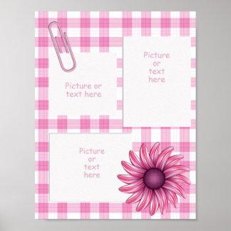 Hübsch in der rosa ~ 3 Fenster-karierten Seite Poster