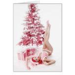 Hübsch in rosa PinUp-Mädchen-WeihnachtenGreeeting