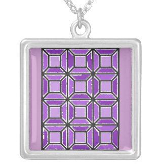 Hübsche Amethyst Fensterscheiben-Halskette Versilberte Kette
