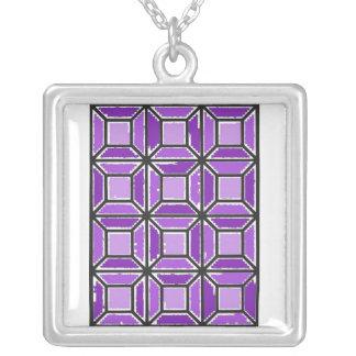 Hübsche Amethyst Fensterscheiben-Muster-Halskette Versilberte Kette