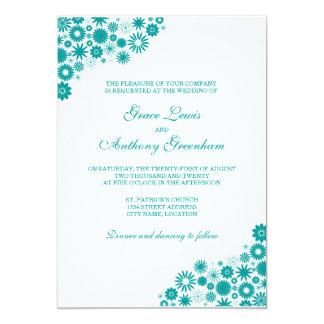 Hübsche aquamarine Hochzeits-mit Blumeneinladung 12,7 X 17,8 Cm Einladungskarte