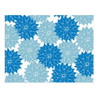 Hübsche blaue Blumen-Blüten-Blumenmuster-Druck Postkarten