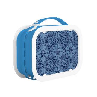 Hübsche blaue Vintage geometrische Kreise Brotdose