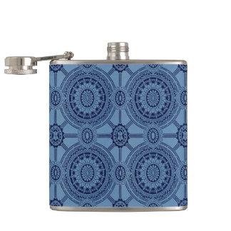 Hübsche blaue Vintage geometrische Kreise Flachmann