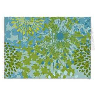 Hübsche blaues Grün-Blumen-Blumenlinie Karte