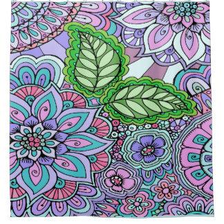 Hübsche Blumenpastellhand gezeichnetes Duschvorhang