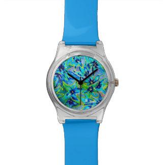 Hübsche Blumenuhr der Wasserfarbe-May28th Armbanduhr