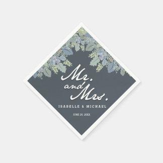 Hübsche Blüten-Vintager Garten-Hochzeits-Herr u. Servietten