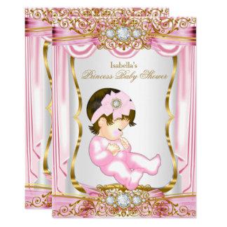 Hübsche brünette Duschen-Rosa-Seide Karte