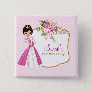 Hübsche brünette Prinzessin Birthday Button