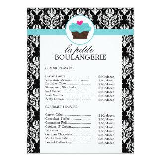 Hübsche Damast-Bäckerei-Preisliste 14 X 19,5 Cm Einladungskarte