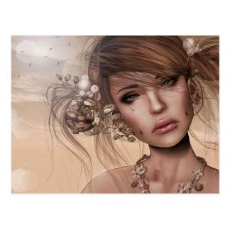 Hübsche Frau mit Durchdringen Postkarte