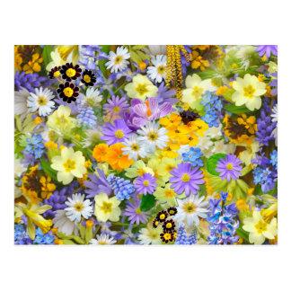 Hübsche Frühlings-Blumen-Collage Postkarte