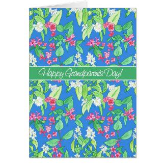 Hübsche Frühlings-Blüten am blauen Großeltern-Tag Karte