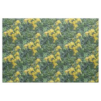 Hübsche gelbe Iris-Garten-Blumen Stoff