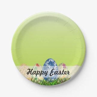 Hübsche gemusterte Ostereier auf Frühlingsgrün Pappteller