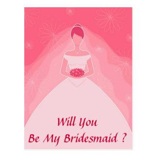 Hübsche Girly rosa einfache Brautjungfer Postkarte