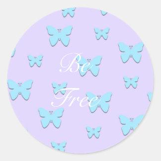 Hübsche grafische Schmetterlings-Pastellaufkleber Runder Aufkleber