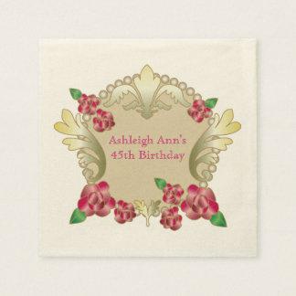 Hübsche karminrote Rosen-Goldverzierung perlt Papierserviette
