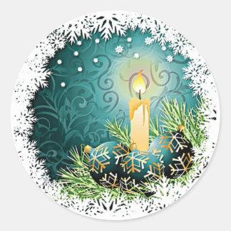 Hübsche Kerze auf aquamarinem Runder Aufkleber