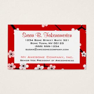 Hübsche Kirschblüten - tiefrot und rosa Visitenkarte