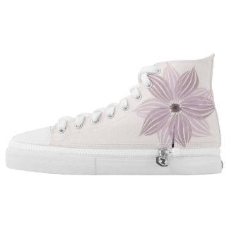 Hübsche lila Blumen-Kunst-Blumenschuhe Hoch-geschnittene Sneaker