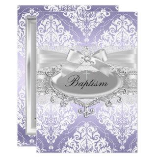 Hübsche lila Damast-Bogen-Taufe-Einladung Karte