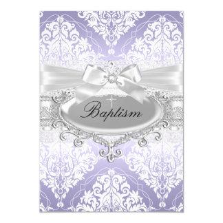 Hübsche lila Damast-u. Bogen-Taufe-Einladung 12,7 X 17,8 Cm Einladungskarte
