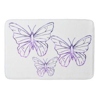 Hübsche lila weiße Schmetterling Badezimmermatte Badematte