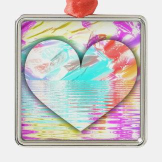 Hübsche Pastellherz-Wasser-Kräuselungen Quadratisches Silberfarbenes Ornament