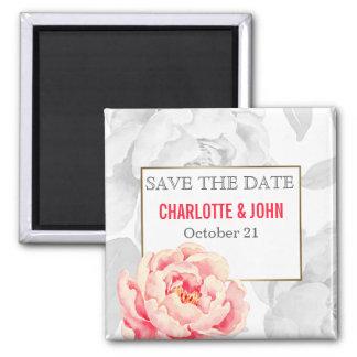 Hübsche Pfingstrosen modernes Blumenwedding Save Quadratischer Magnet