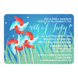 Hübsche Pinwheels 4. der Juli-Picknick-Einladungen Karte