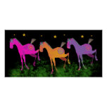 Hübsche Ponys unter den Sternen Plakat